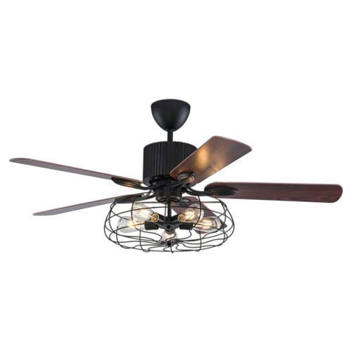 Ventilador de techo 2 en 1 de 52 pulgadas, ventilador de techo con luz de estilo industrial E27, ventilador de techo con luz + mando a distancia