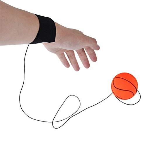 Flybloom Bouncy Handgelenk Band Rubber Ball Elastische Schnur Rebound Finger Übung Sport Spielzeug (Orange Farbe Basketball)