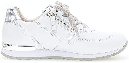 Gabor Damen Sneaker, Frauen Low-Top Sneaker,Comfort-Mehrweite,Optifit- Wechselfußbett, Halbschuh strassenschuh,Weiss/Silber(Ring),40 EU / 6.5 UK