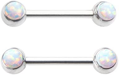 Pair of Sparkling Synthetic White fire Opal Nipple Rings Body Jewelry Piercing bar Barbell Shield Ring- 14 Gauge 14g