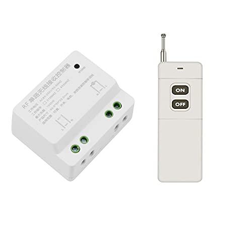 Interruptor inalámbrico de 230 V CA, 220 V, 1 canal, mando a distancia inalámbrico con mando a distancia de 600 m, para pasillo, dormitorio, lámpara, mando a distancia por pared