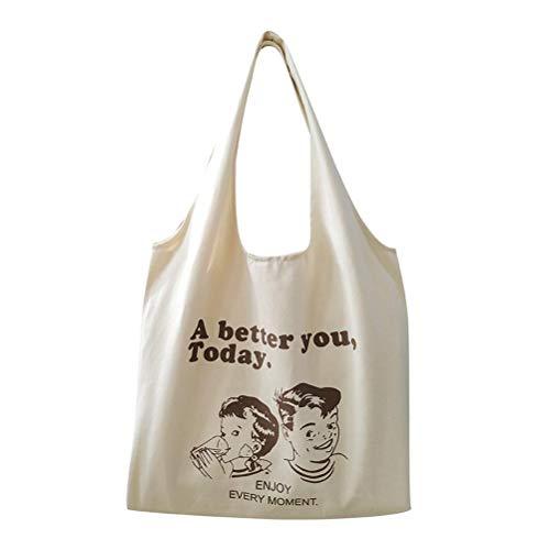 J-ouuo Bolsas de lona con diseño de dibujos animados, reutilizables, bolsa de hombro para mujeres, niñas y niños, bolsas de lona multiusos
