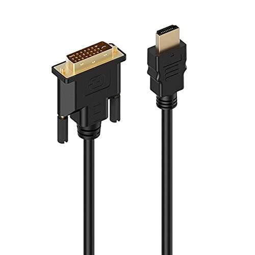 Color Yun Adaptador HDMI-Compatible a DVI-D Cable de Video Macho a DVI Macho Cable DVI (Negro) 1,5 m