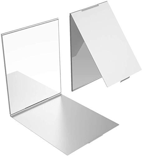YoungRich 1 Pcs Little Travel Mirror Espejo Plegable Portátil Espejo de Maquillaje Compacto para Maquillaje Peluquería y Afeitado 17x13x0.5cm Plata