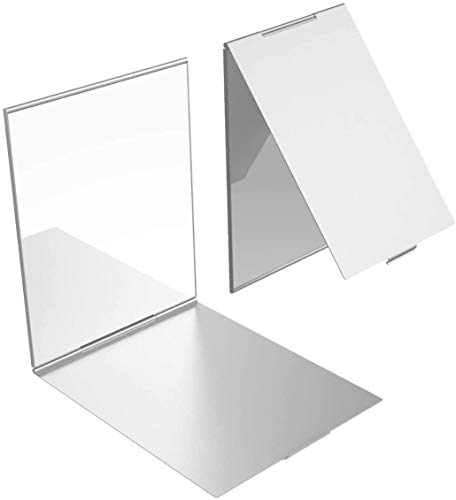 YoungRich 1 PCS Little Travel Mirror Specchio Pieghevole Portatile da Tasca Specchio Compatto per Trucco Make Up Hair Styling e Rasatura 17x13x0,5 cm Argento