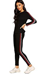 Shocknshop Red And White Striped Tracksuit Tape Tee and Leggings Pants Set for womens