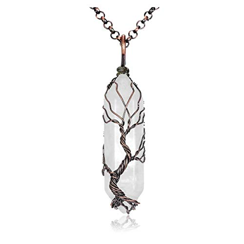JSDDE Clear Quartz Gemstone Necklace Wire Wrapped Tree of Life Crystal Pendant Necklace for Women Men