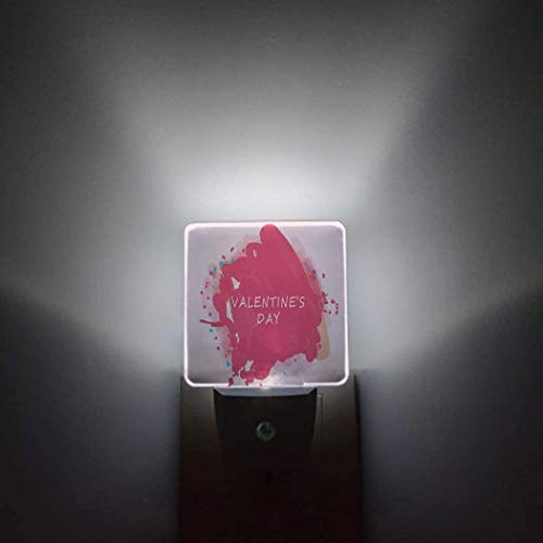 Luz nocturna rosa de San Valentín lámpara LED sensor automático Pack de 2 luces nocturnas conectable a la pared Silla tumbona y sombrilla con palmeras en la playa Resort para las vacaciones Conce