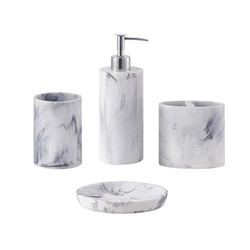 zccz Bathroom Accessory Set, 4 Pcs Marble Look Bathroom Vanity Countertop Accessory Set Bathroom Décor Accessories with Soap Dispenser, Toothbrush Holder, Bathroom Tumbler, Soap Dish
