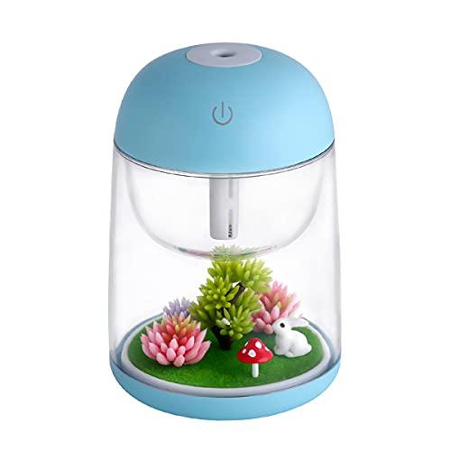 EEYZD Humidificador de Paisaje en Miniatura, purificador de Aire LED, USB de Gran Capacidad, para Dormitorio, niños, automóvil, Oficina, Escritorio, Equipo humectante emisor de luz Personalizado,Azul