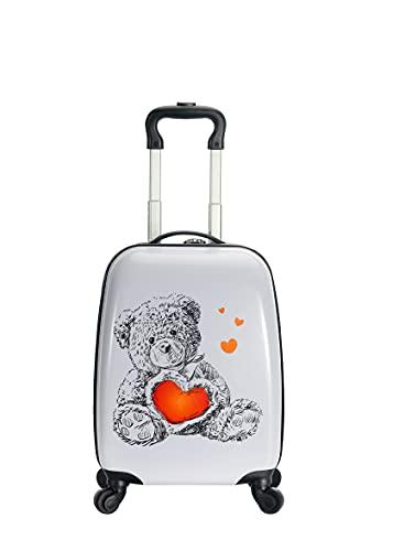 Snowball – Valigia per bambini tipo Kids orsetto, 48 cm, nero/bianco/ragazza