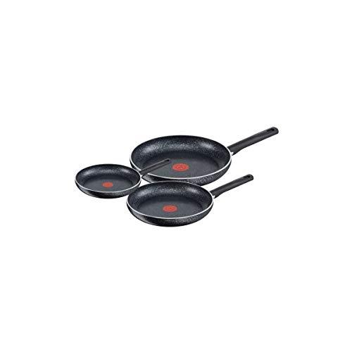Tefal 3 sartenes Brut 21-26-30 cm para todo tipo de fuegos, incluidos inducción C2649102, aluminio, negro, 59 x 39 x 16 cm