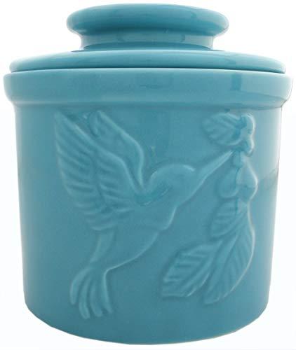 JBK Pottery Hummingbird Butter Crock  Teal