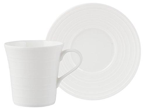 MIKASA Ciara, diseño de Taza de café y platillo, Porcelana, Blanco, 2Piezas