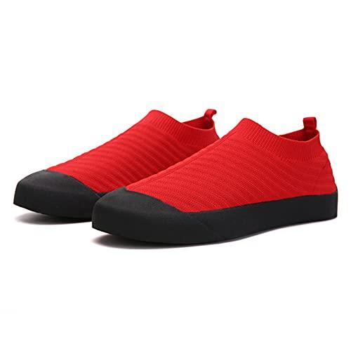 Sebasty Zapatos para Caminar de Los Hombres de Las Mujeres Zapatos para Correr,Zapatillas de Deporte Casuales de Punto Sin Cordones Transpirables Ligeras,Red-37