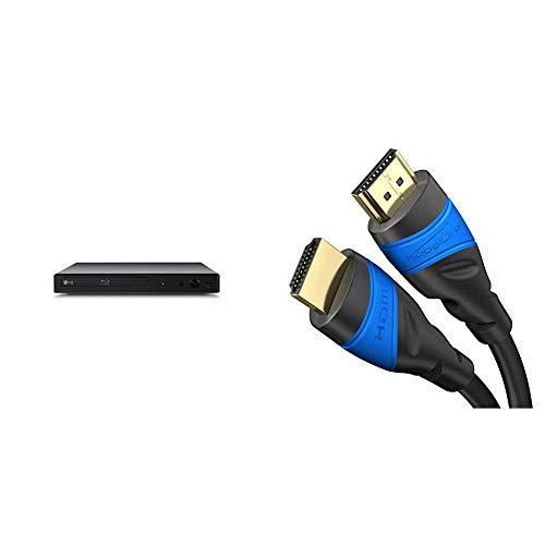 LG BP350 Blu-ray Player & KabelDirekt - 4K HDMI Kabel - 2m - kompatibel mit (HDMI 2.0a/b 2.0, 1.4a, 4K Ultra HD, 3D, Full HD, 1080p, HDR, ARC, Highspeed mit Ethernet, PS4, Xbox, HDTV) - TOP Series