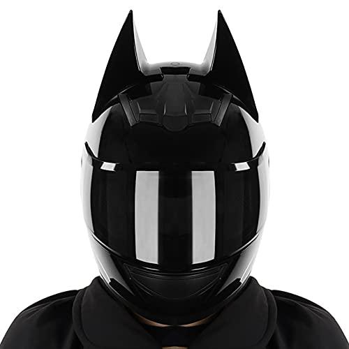 Casco de motocicleta con orejas de gato y personalidad en negro brillante, casco integral (lente negra), auriculares bluetooth, casco de motociclista para hombres, ATV, scooter anticolisión, visera