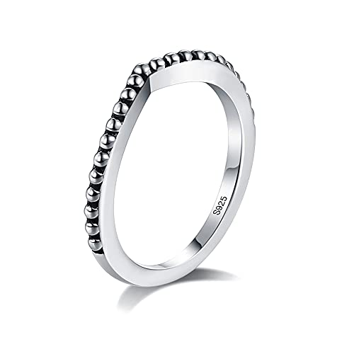 Sterling Silver Women's Simple Ring Daily Party Stacking Ring 925 Silver Christmas Birthday Gift for Girls (9)