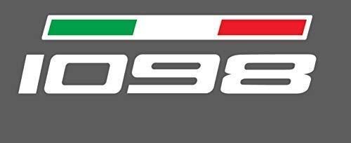 1 Aufkleber Ducati 1098 für Tank Fahne Dreifarbig - Schwarz