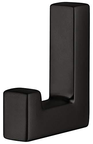Gedotec Design Garderobenhaken eckig Kleiderhaken schwarz matt Mantelhaken - QUADRO | Metall massiv | Haken unsichtbar verschraubt | 1 Stück - Moderner Wand-Haken einzeln mit Befestigungsmaterial