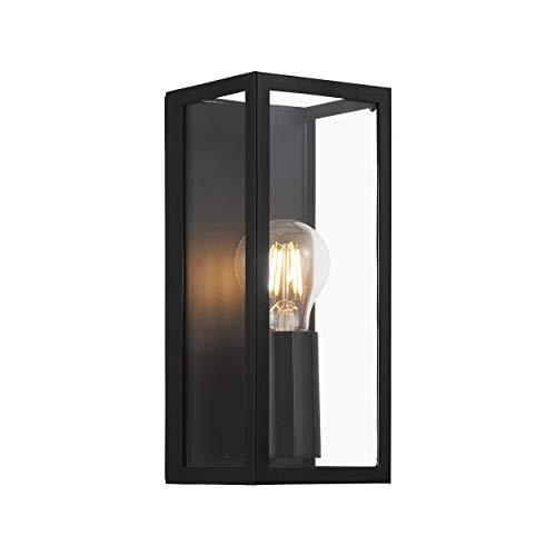 EGLO Wandlampe Amezola, 1 flammige Wandleuchte Industrial, Vintage, Wandleuchte innen aus Stahl und Glas, Wohnzimmerlampe, Flurlampe in Schwarz, Klar, Badezimmer Lampe mit E27 Fassung, IP44
