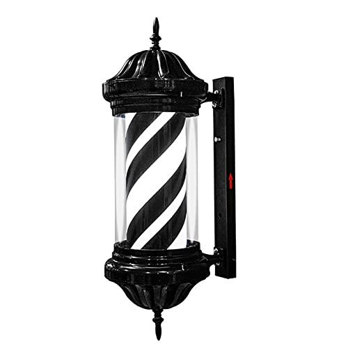 Poste De Peluquería Giratorio, Luz Giratoria De Rayas Blancas Negras LED Lámpara De Pared para Peluquería Impermeable Al Aire Libre 5600K, H 27.5 Pulgadas