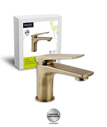 'aquaSu® Einhandmischer Orva für Waschtisch I Bronze I Wasserhahn I Einhebelmischer I Armatur I...