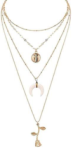 NC110 Collar Collares de Cadena en Capas de Color Dorado Gargantilla de Luna Collares Colgantes de Flor Rosa para Mujeres Collar Colgante Regalo para Mujeres YUAHJIGE