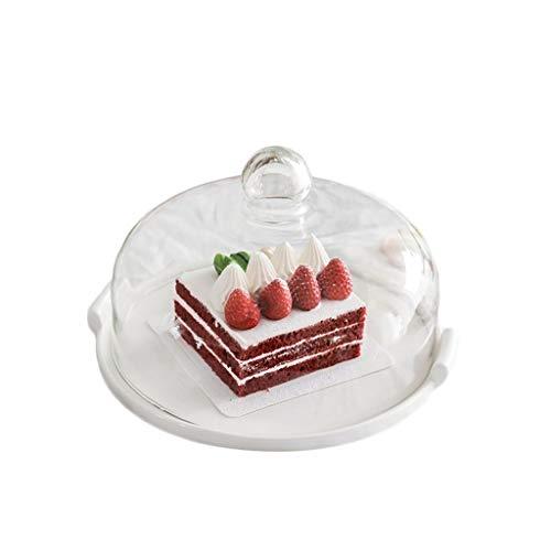 SZQ-Cloches à fromage Dôme en verre, Dessert Conservation Pâtisserie Couverture domestique et disques en céramique commerciaux Double poignée pâtisserie dégustation Plateau 9 / 10inch Stand de gâteaux