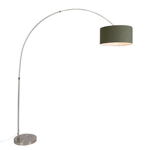 QAZQA - Modern Lichtbogenlampe Stahl   Silber   nickel mattmoosgrün 50 50 25 - XXL   Wohnzimmer   Schlafzimmer - Metall Andere - LED geeignet E27