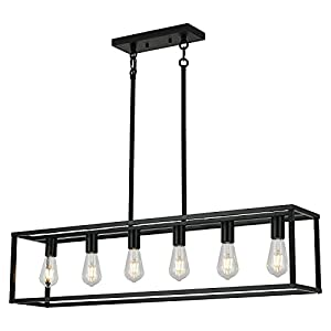 Xilicon Farmhouse Chandeliers Rectangle Black 6 Light Dining Room Lighting Fixtures Hanging, Kitchen Island Cage Pendant Lights Contemporary Modern Ceiling Light with Adjustable Rods