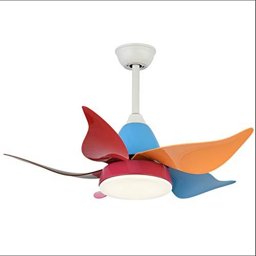 Hogar Ventilador Techo Ventilador de techo de 5 hojas, luz moderna y minimalista, dormitorio para niños Ventilador de macarrón, sala de estar y comedor en casa (Color : Rainbow color)