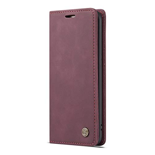 JMstore Funda Compatible con Samsung Galaxy S7 Edge, Magnético Carcasa Funda Móvil Billetera Cuero Funda con Tapa Libro Caso Soporte Plegable (Rojo)