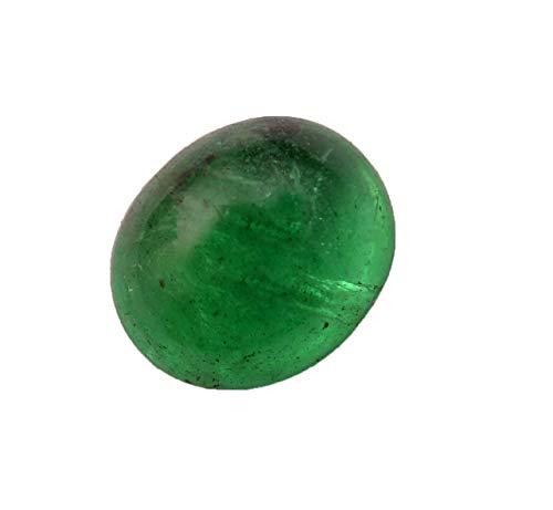 Jaipur Gems Mart 1,85 Quilates Forma Oval Natural de Zambia Verde Esmeralda Cabochan Pieza para Hacer la joyería, Pendiente de la Esmeralda, Curación Gema, Piedra astrológico