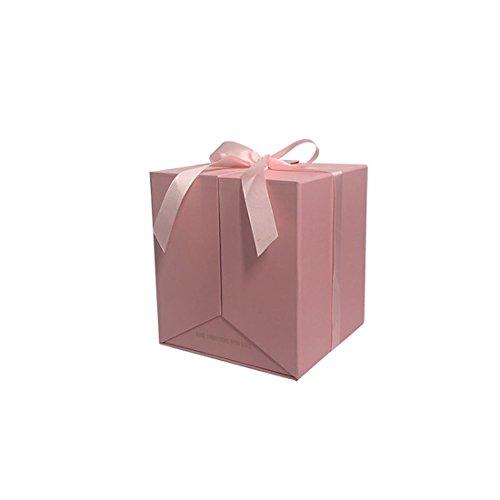 2018 NEUF Motif fleur carré Boîte de cadeau, permet d'ouvrir les deux côtés, cadeaux de décoration de fête de mariage, les soirées pour Gusests d'emballage cadeau Saint Valentin 19X19X21cm rose
