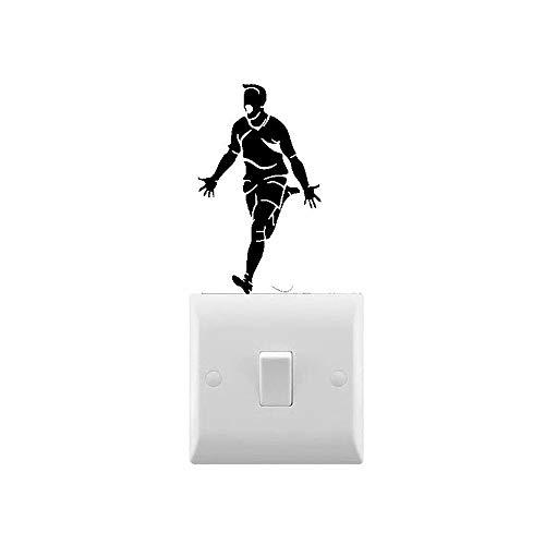 AiEnmaw Novedad futbolista celebrando pequeño interruptor de luz etiqueta engomada interruptor de luz decoración vinilo extraíble decoración interior del hogar 10x6cm