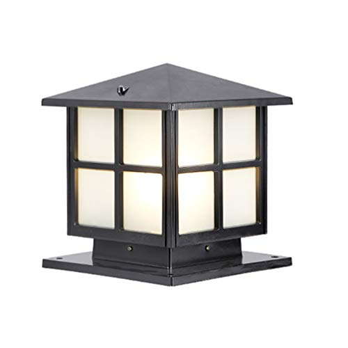 ACHNC Lámpara de Exterior Retro,IP65 Impermeable Lámpara de Jardín Antiguo E27 Farola de Jardín Aluminio Oro Marrón Farola de Exterior Patio Terraza Paisaje Caminos Iluminación Exterior,Negro
