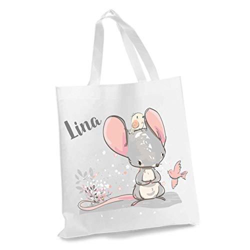 wolga-kreativ Stofftasche Einkaufstasche Maus mit Name Stoffbeutel Kindertasche Sportbeutel Schuhbeutel Wäschebeutel Stoffsäckchen Jutebeutel Schultertasche Mädchen Junge
