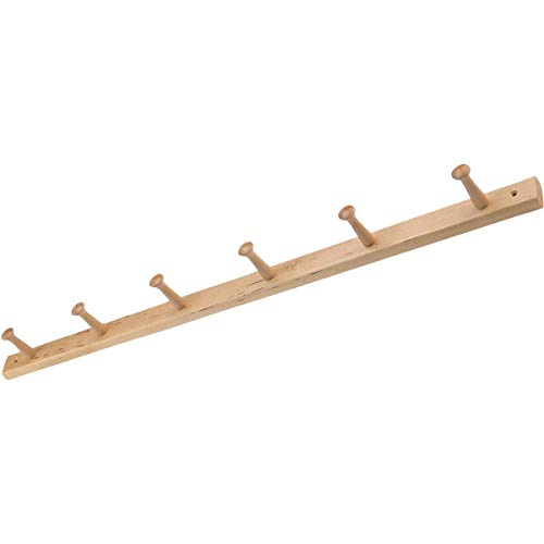 iDesign 91528 Wood Wall Mount 6-Peg Coat Rack for Coats, Leashes, Hats, Robes, Towels, Jackets, Purses, Bedroom, Closet, Entryway, Mudroom, Kitchen, Office, 32.3