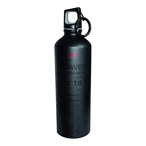 Kia Botella de agua de aluminio con tapón de rosca y mosquetón, 750 ml