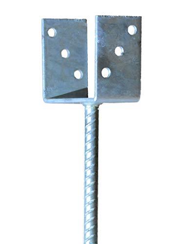 Pfostenträger zum Einbetonieren für Pfosten 7 cm 71 mm mit Dolle 200 mm lang feuerverzinkt U-Gabel
