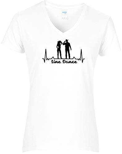 BlingelingShirts Shirt Damen Line Dance Herzschlag Tanzpaar Westernshirt, T-Shirt, Grösse XL, Weiss Druck schwarz