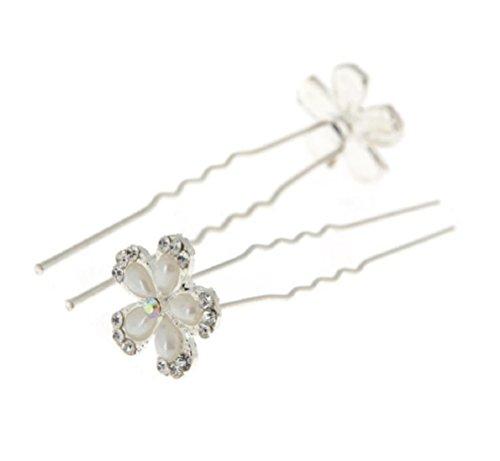 Unbekannt 5er-Set XL Haarnadeln Strass Perlen Blumen Blüten Haarschmuck Hochzeit Braut Kommunion Tiara 5 St