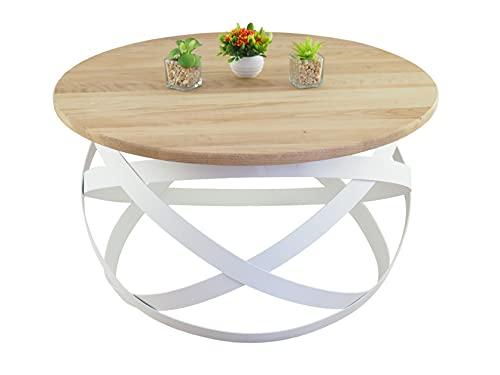 Lumarc Firenze, Table Basse de Salon en Bois Massif de Chêne Naturel au Design Industriel Minimaliste Moderne, Ronde, Ø70x40 cm (Blanc)