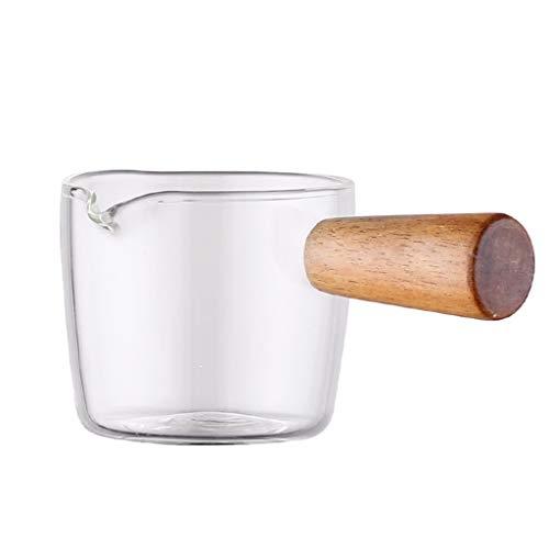 Barcos de salsa de salsas Creamer, jarros pequeña jarra de leche salsa de crema de café Jarabe Jar Server cuencos de inmersión con mango, vidrio borosilicato Salsas para calentar salsa ( Size : L )