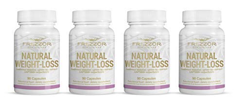 FREZZOR Weight-Loss Supplement 4-Pack, All-Natural New Zealand Superfoods, Carbohydrate Blocker, Fat Burner, Metabolism Booster, Appetite Suppressant, Improves Digestion, Bloat Relief, 360 Capsules