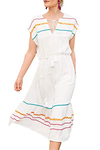 L-Peach dames bloemenprint Kaftan lange jurk strandjurk Pareo Cover ups One Size