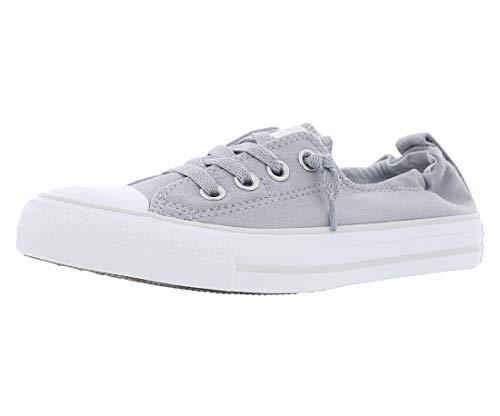 Converse Women's Chuck Taylor All Star Shoreline Linen Slip On Sneaker, Wolf Grey/Pure Platinum/White, 7.5 M US