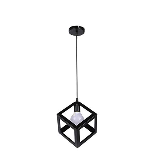 Zpzzy Estilo Minimalista Luz Pendiente Moderna Droplight de una Sola Cabeza de la lámpara Forjado Plaza Hierro Lámpara de suspensión adecuados para Comedor, Dormitorio, Sala de Estar