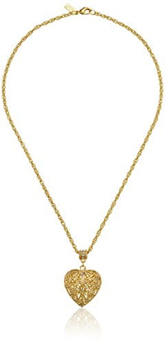 1928 Jewelry 14k Gold-Dipped Filigree Puff Heart Necklace with Swarovski Crystals, 18